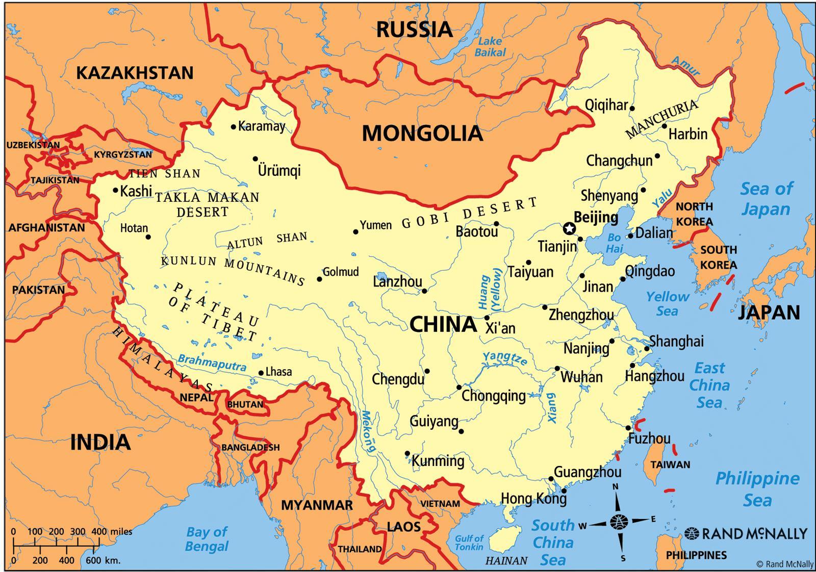 china politische karte China politische Karte   politische Karte von China (Ost   Asien