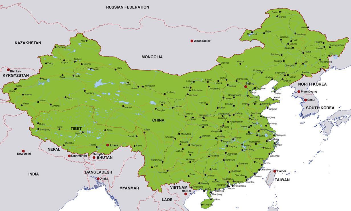 städte in china karte Karte der Städte Chinas   China Karte der Städte in (Ost   Asien