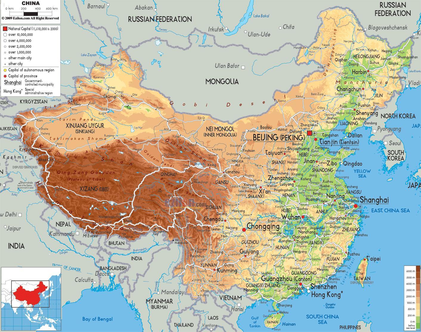 China Karte Physisch.Physische Karte Von China Physikalische Karte Von China Ost