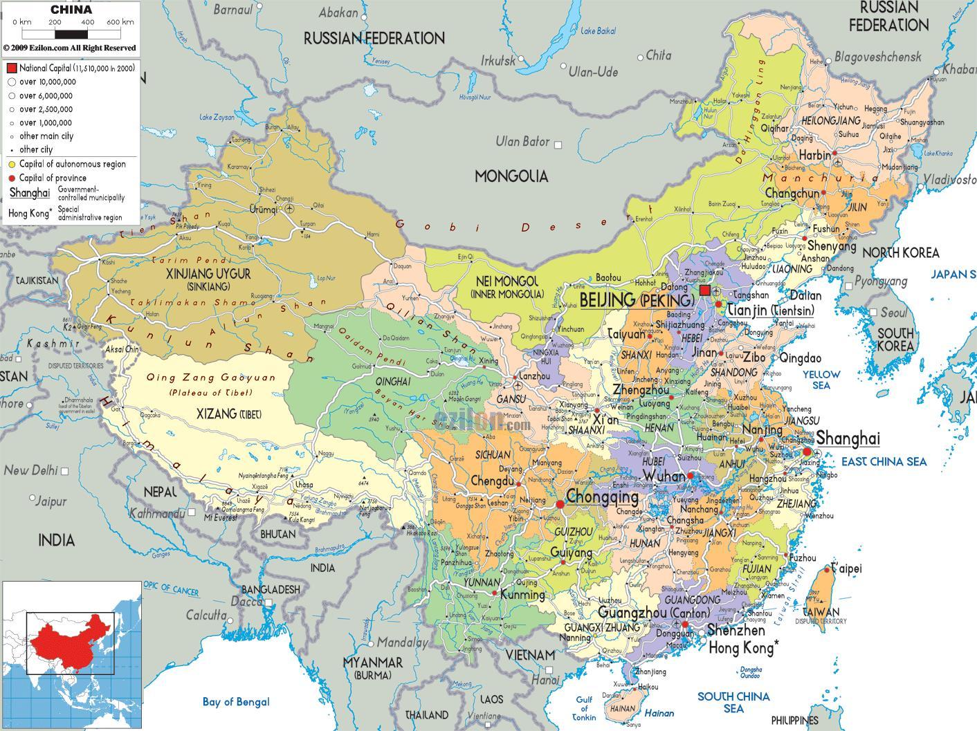 Politische Karte Asien.Politische Karte Von China Politische Karte Von China Ost Asien