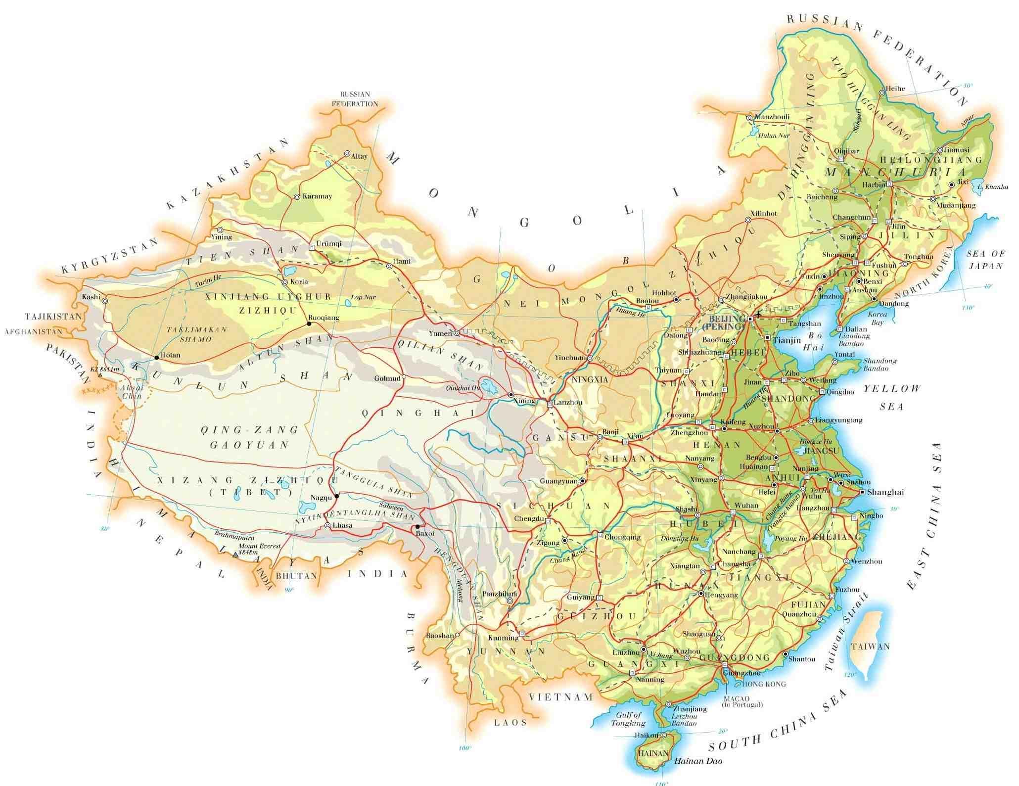 Topographische Landkarte Von China Karte Von China Topographie