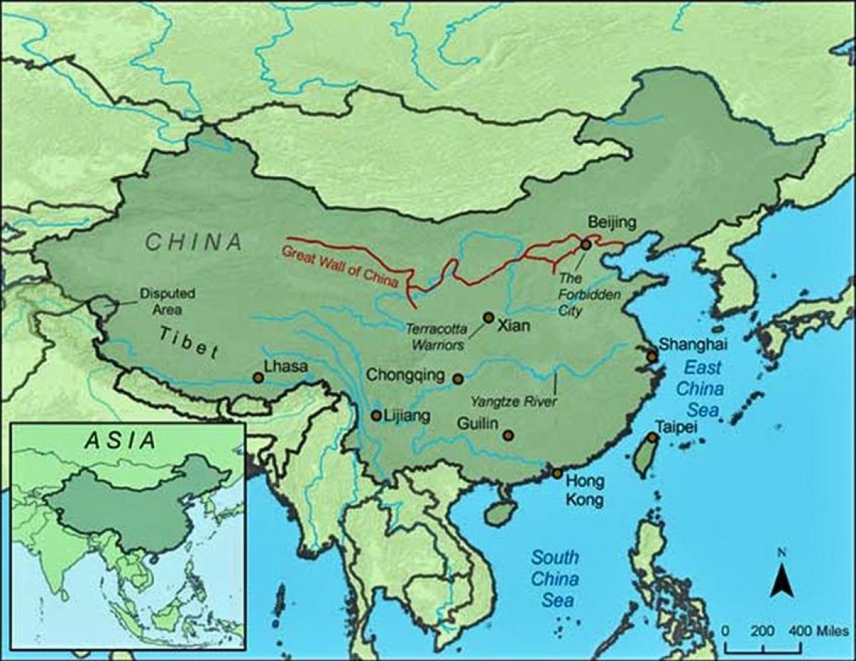 Chinesische Mauer Karte.China Wall Map Karte Von China Die Große Mauer Ost Asien Asien