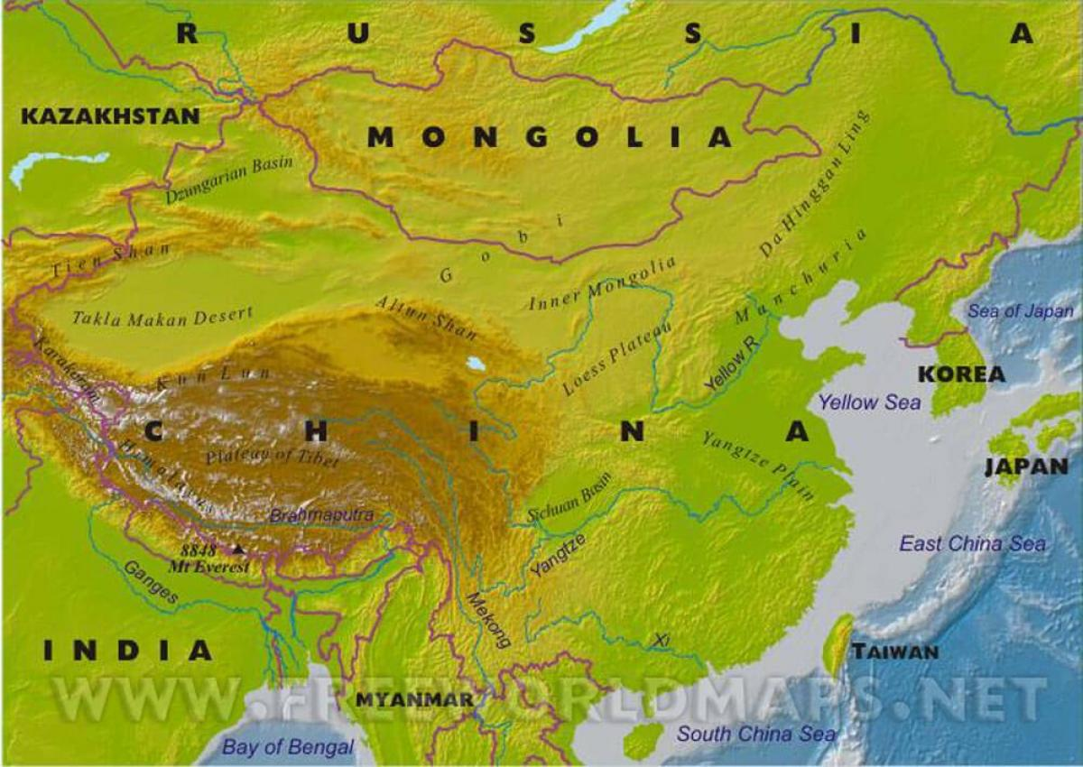 China Karte Physisch.China Physische Karte Karte Von China Die Physische Ost Asien