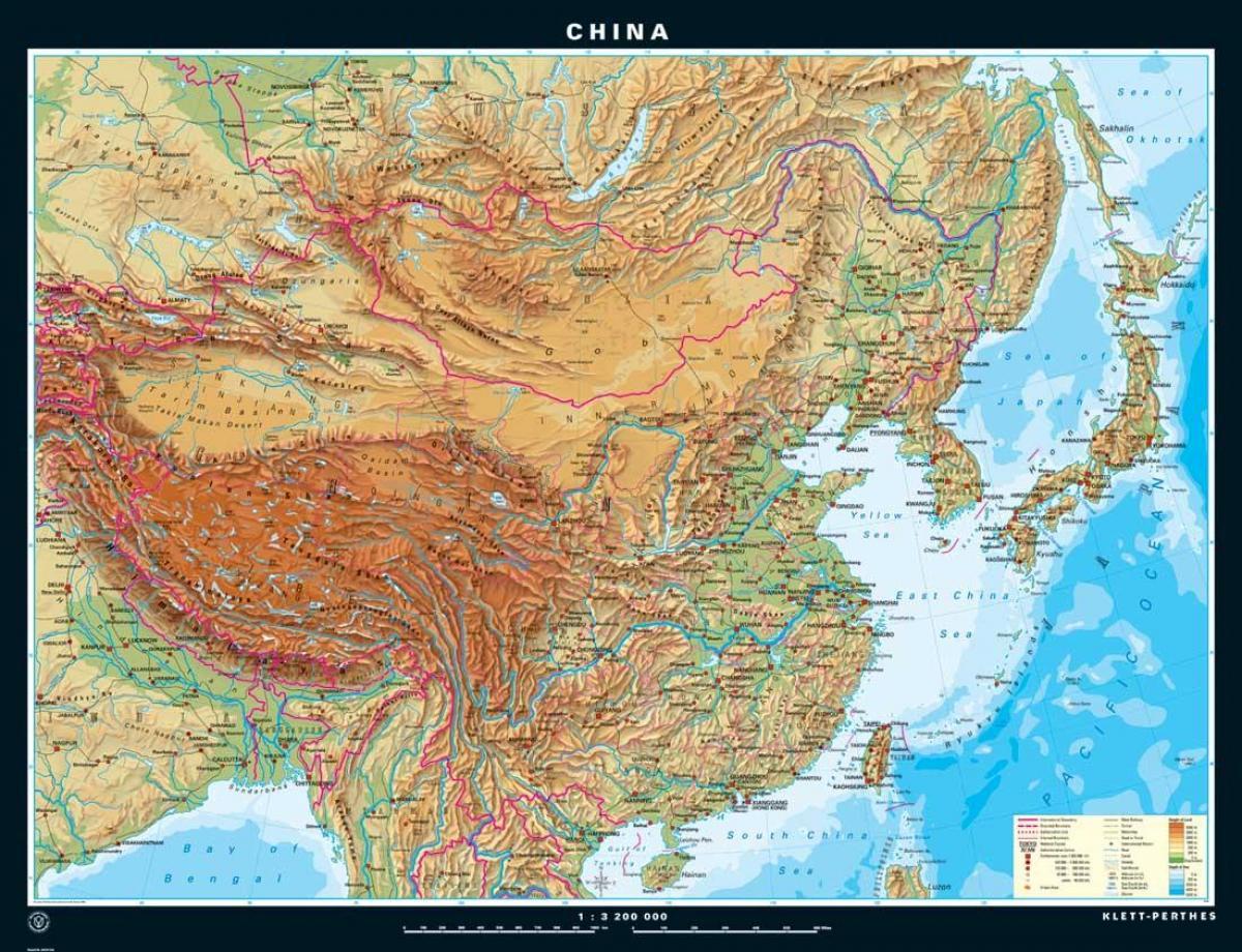 china karte topographie China topographische Karte   Topographische Karte von China (Ost