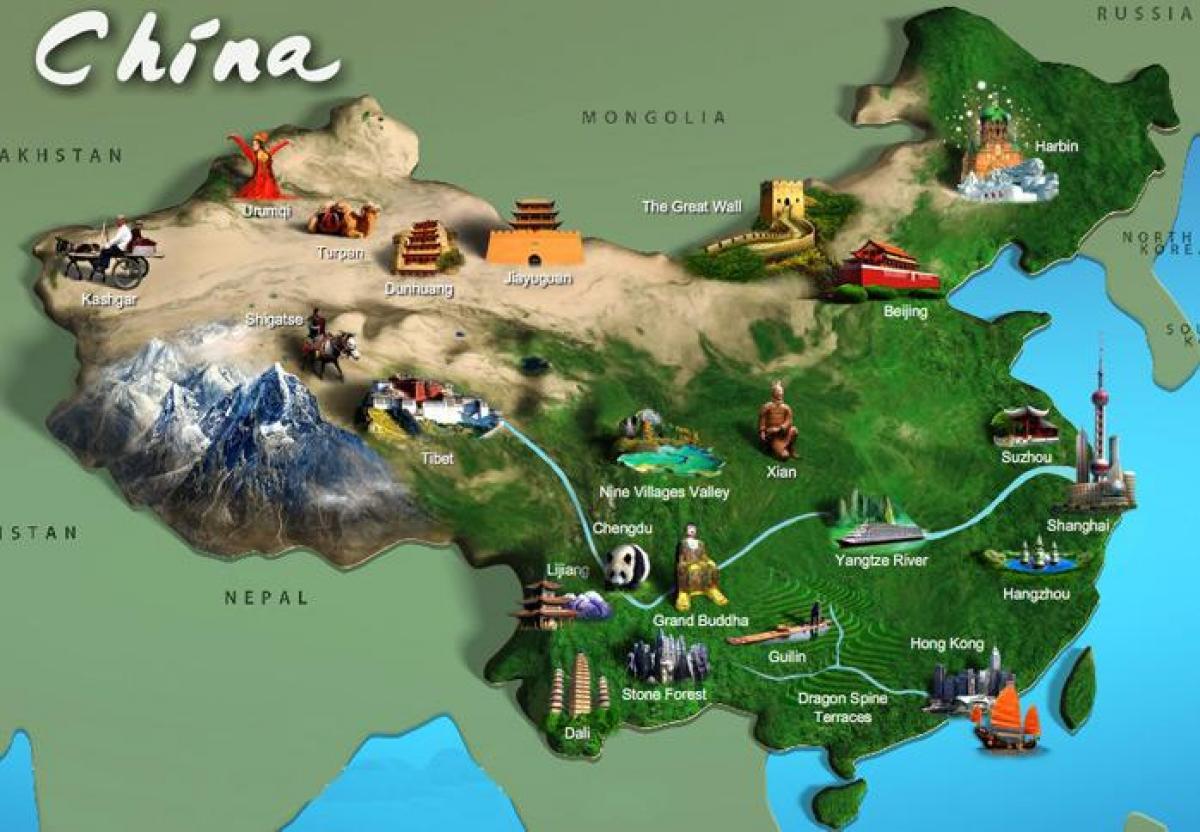 china sehenswürdigkeiten karte China Sehenswürdigkeiten map   Karte von China touristischen