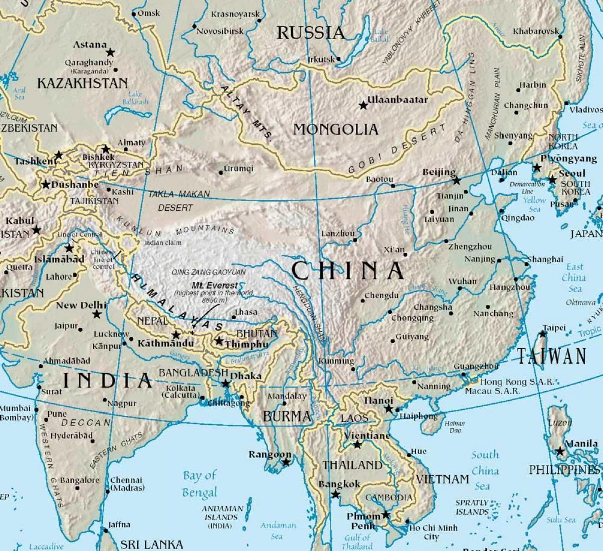 gebirge china karte Gebirge in der Karte von China   Karte von China mit Bergen (Ost