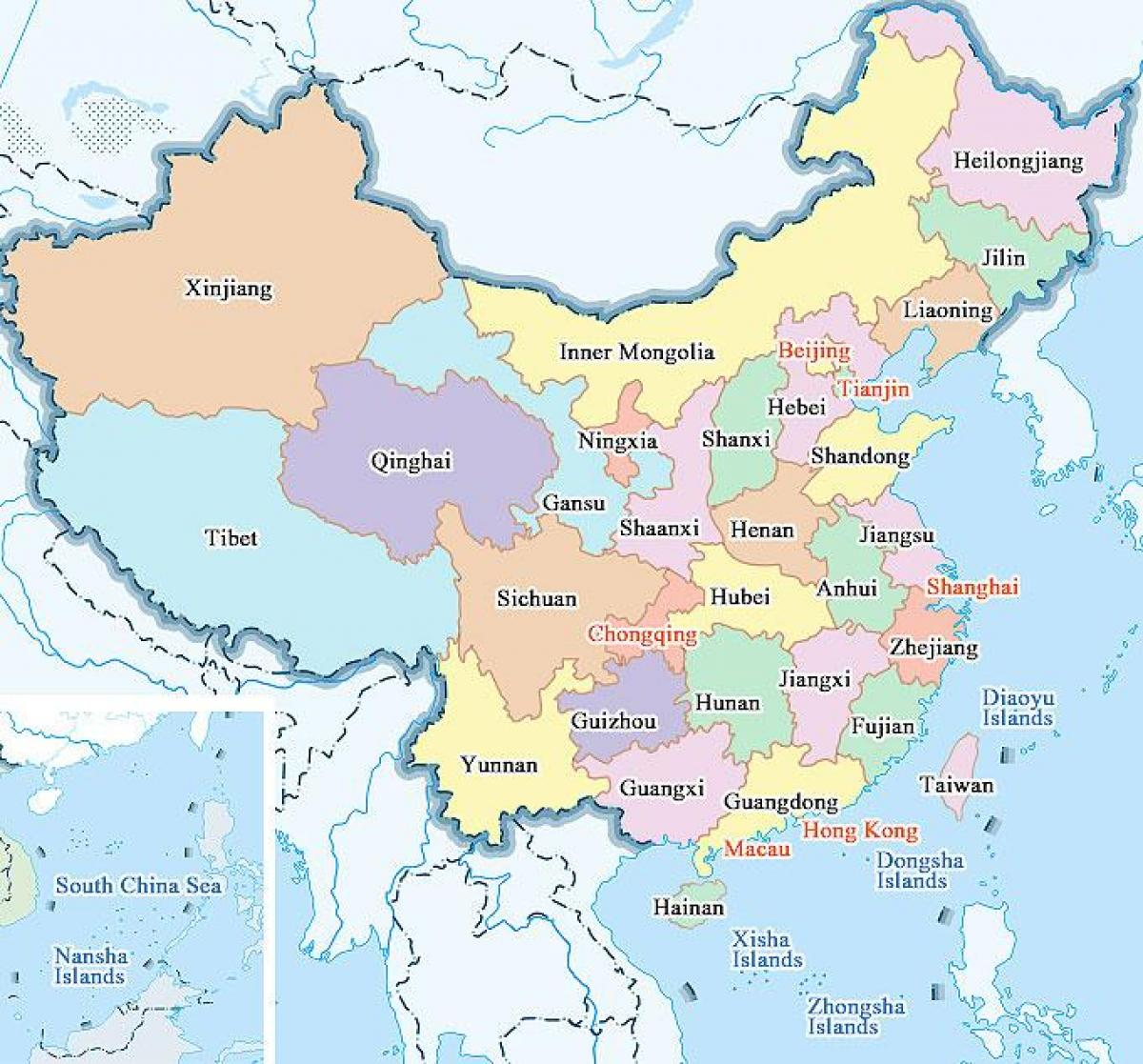 china städte karte Karte von China Provinzen und Städte   Karte von China die Städte